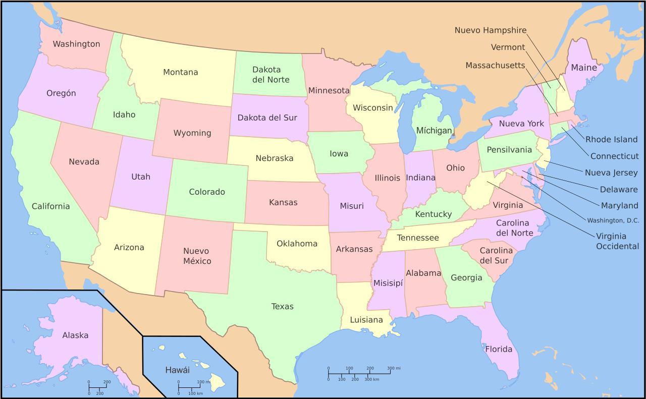 Et Kort Over Usa Kort Des Usa Nordamerika Nordamerika