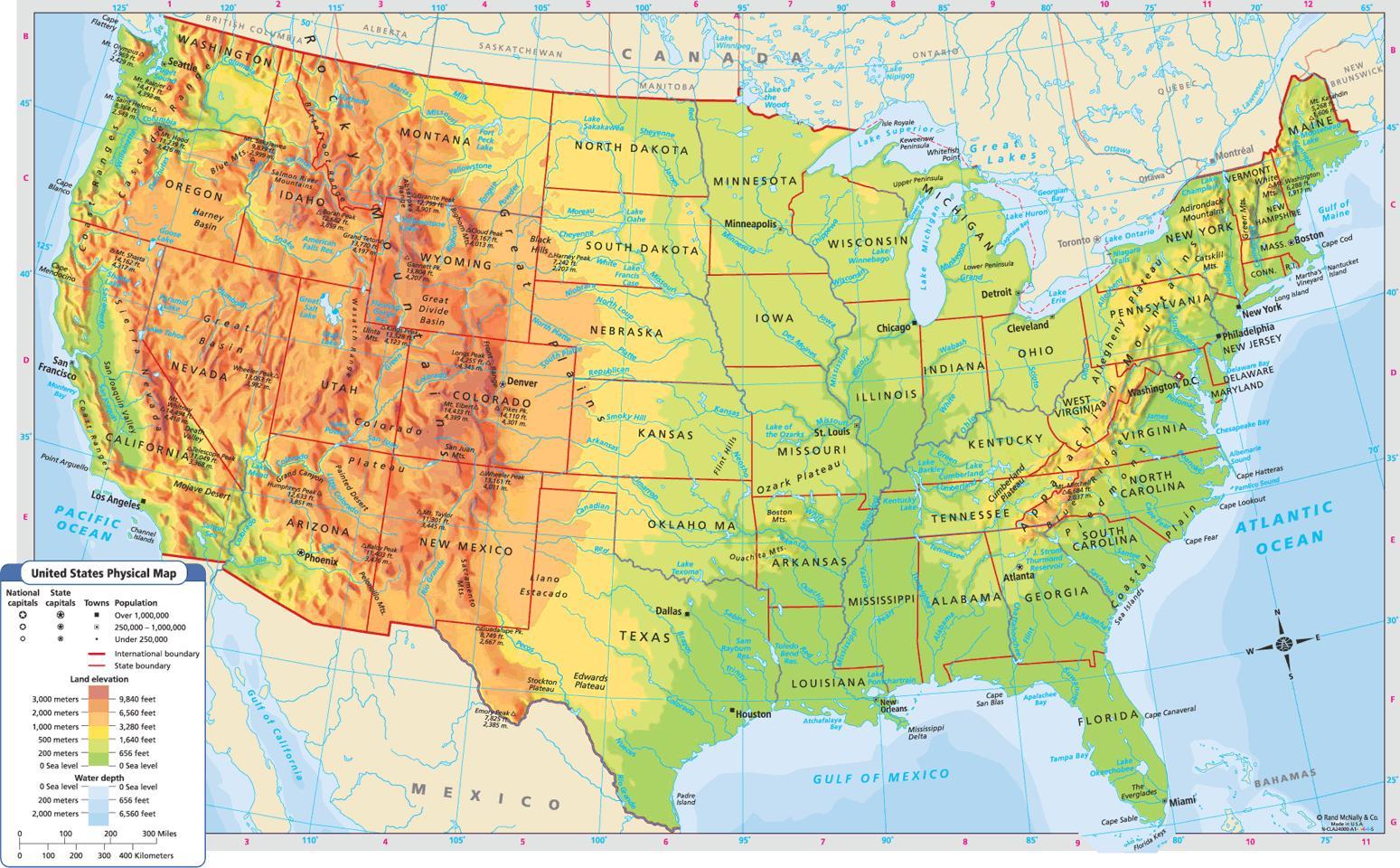 Geografisk Kort Over Usa Geografiske Kort Over Usa Nordamerika