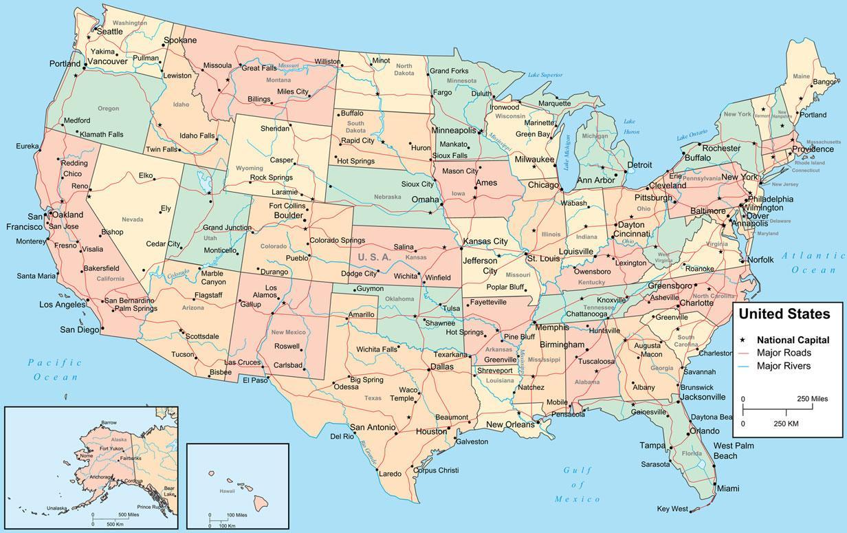 Kort Over Amerika Som Viser Stater Kort Over Nordamerika Der