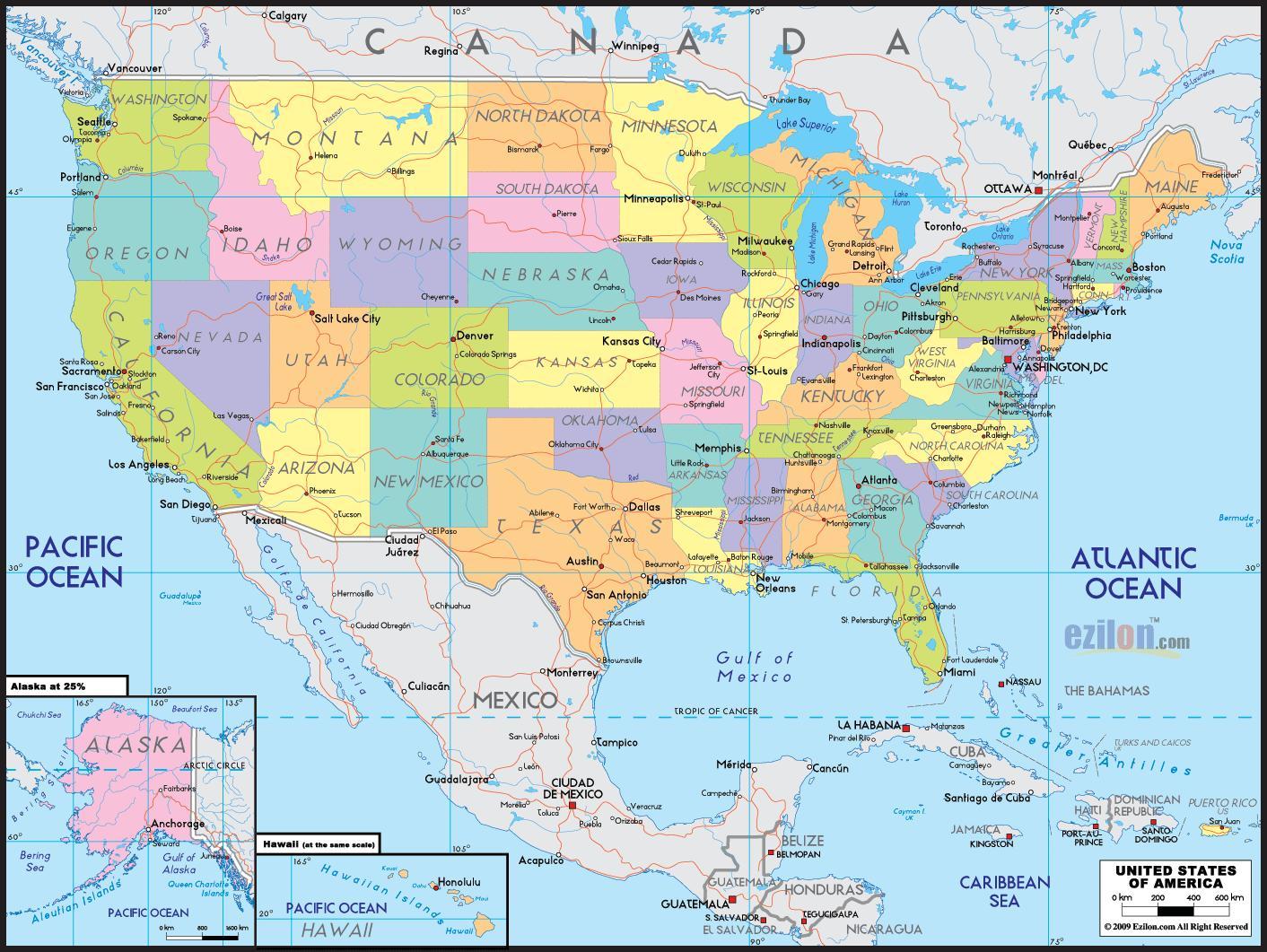 Kort Over Amerika Kort Amerika Nord Amerika Nord Og Sydamerika