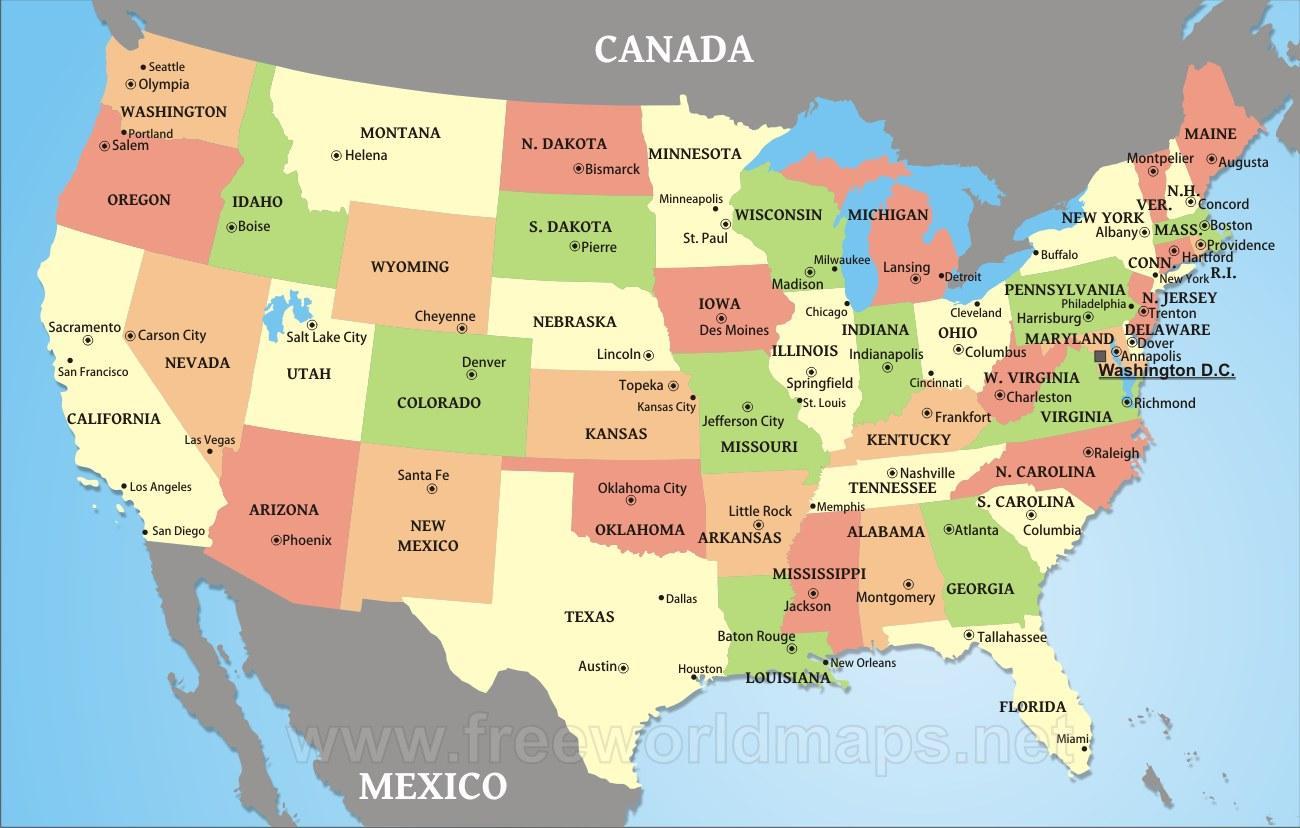 Kort Over Amerikanske Delstater Og Byer Os Kort Over Lande Og