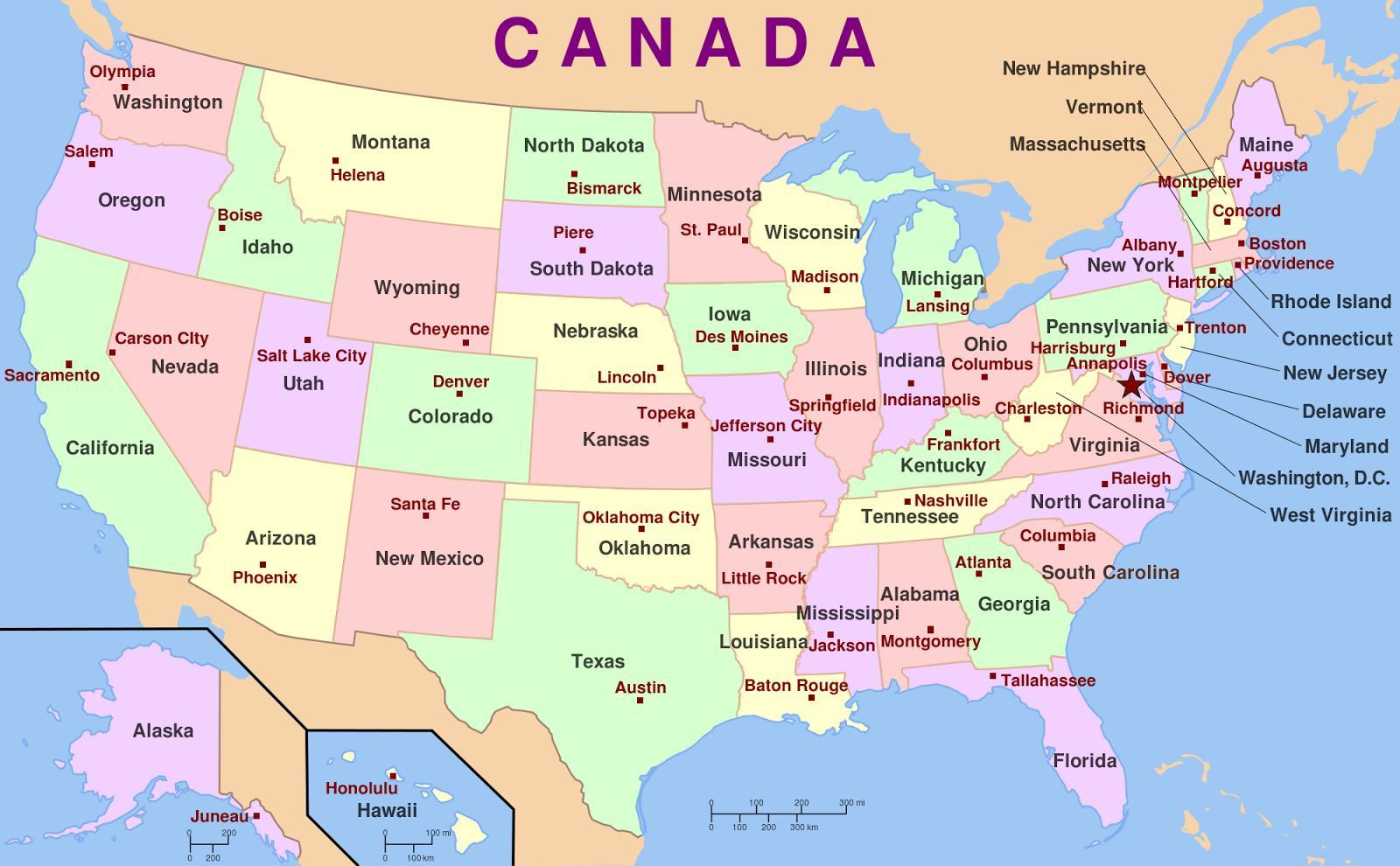 Kort Over Usa Og Hovedstaeder Usa Stater Og Hovedstaeder Kort