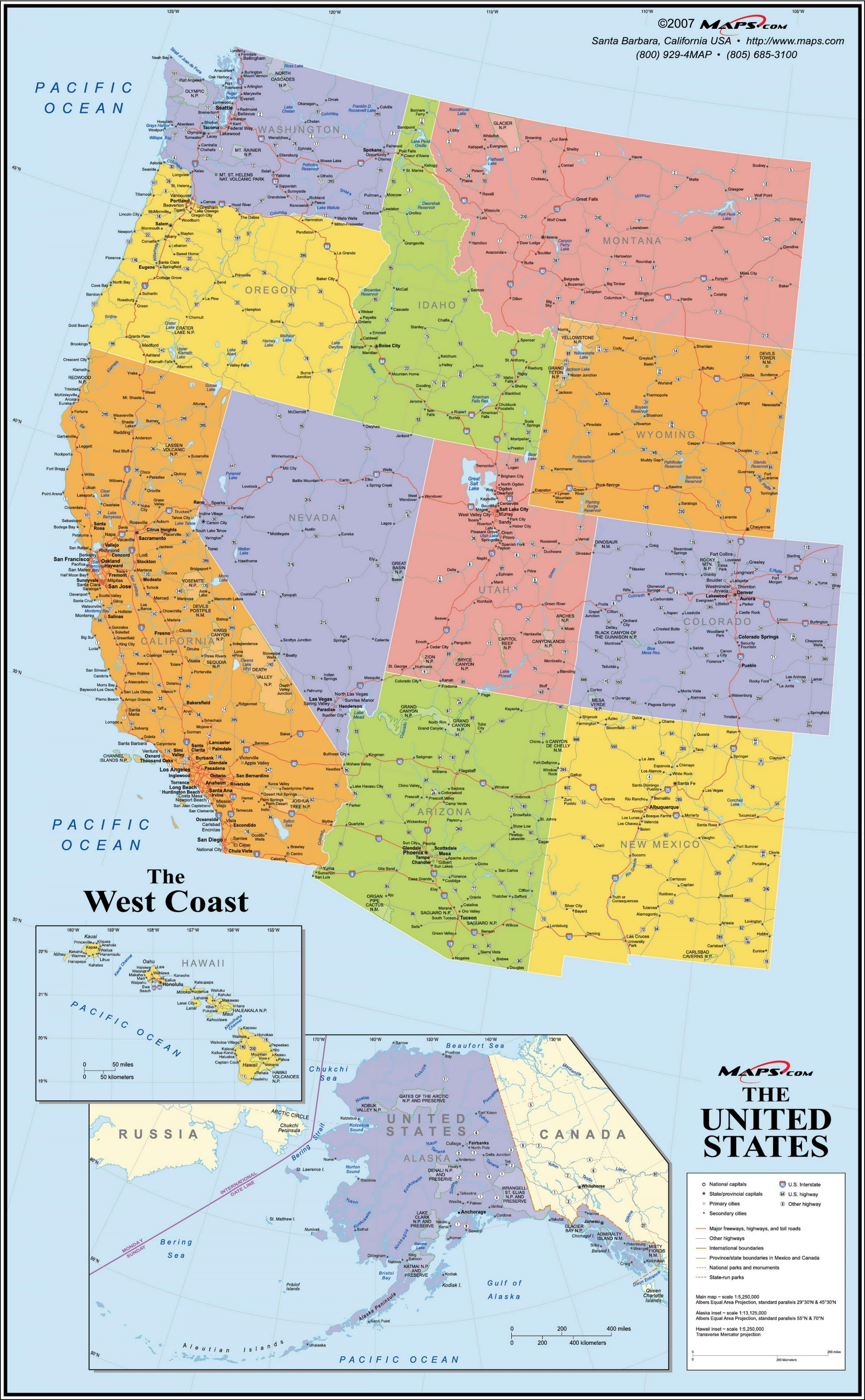 Kort Over Usa West Coast Kort Pa Vestkysten Af Usa Nordamerika