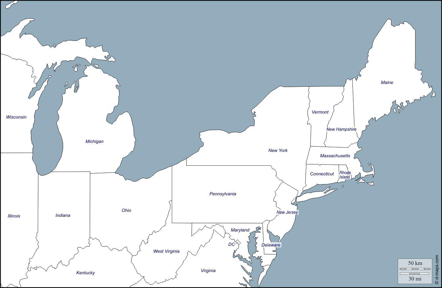 Nordost Kort Af Usa Kort Over Det Nordostlige Usa Nordamerika