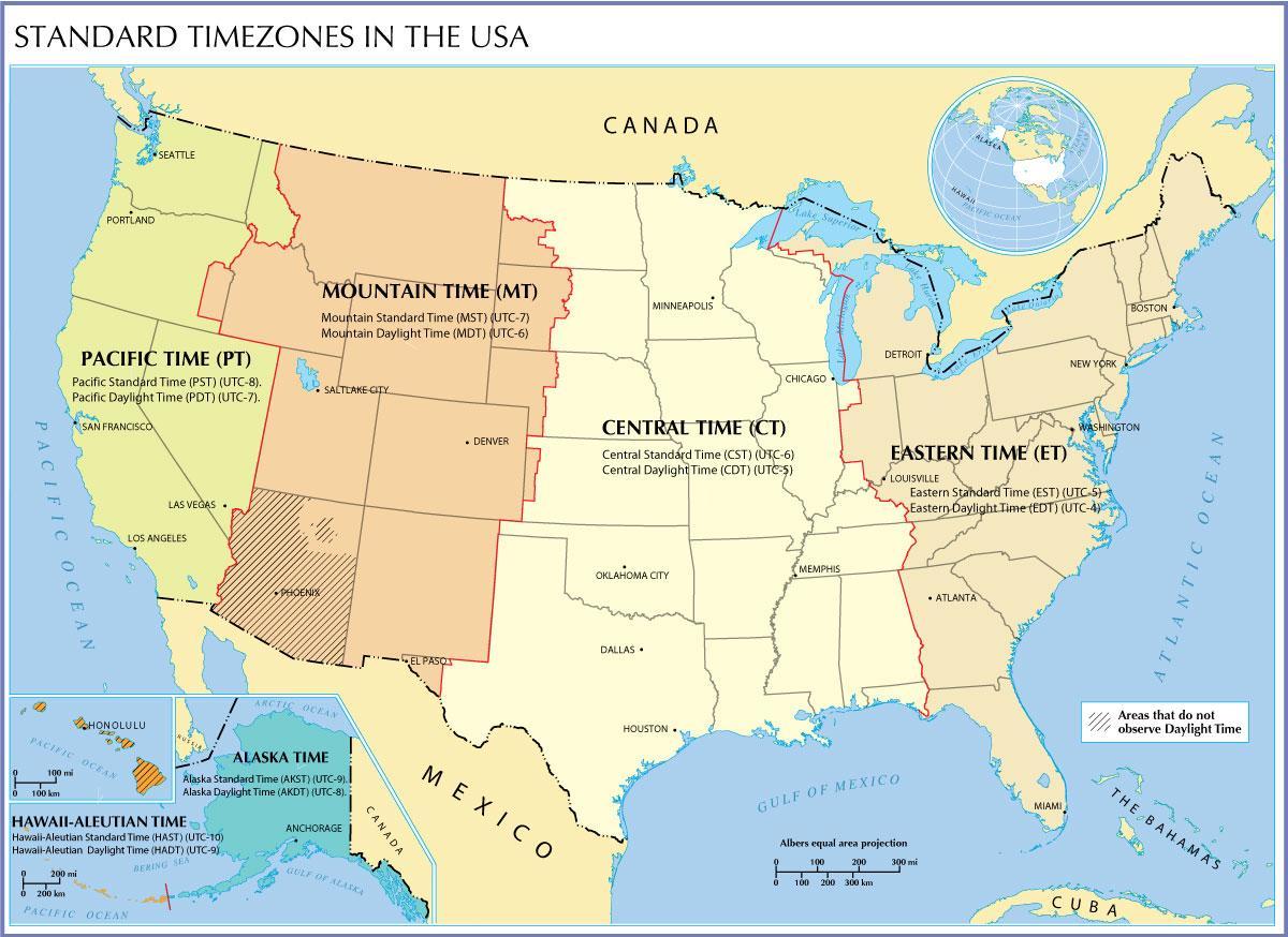 Os Kort Tid Zoner Os Kort Med Tidszoner Det Nordlige Amerika