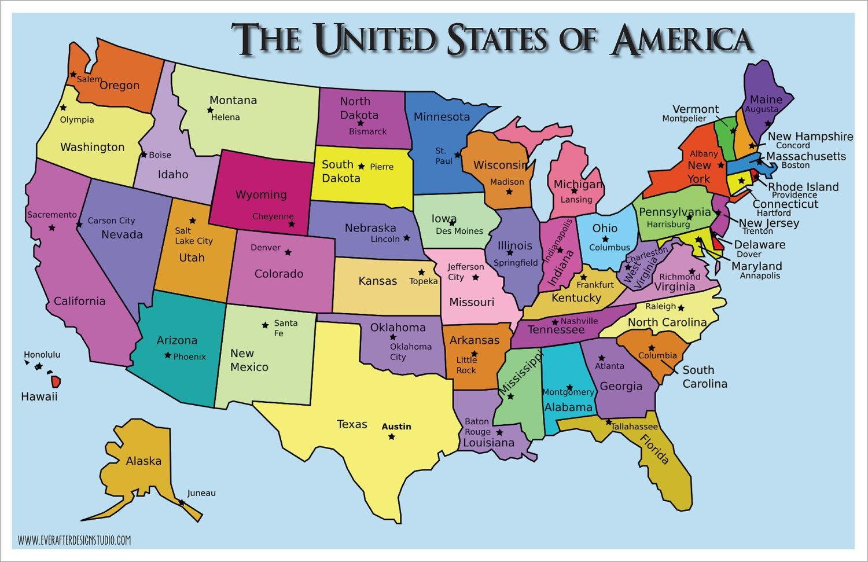Stater Amerikas Forenede Stater Kort Kort Over Usa Som