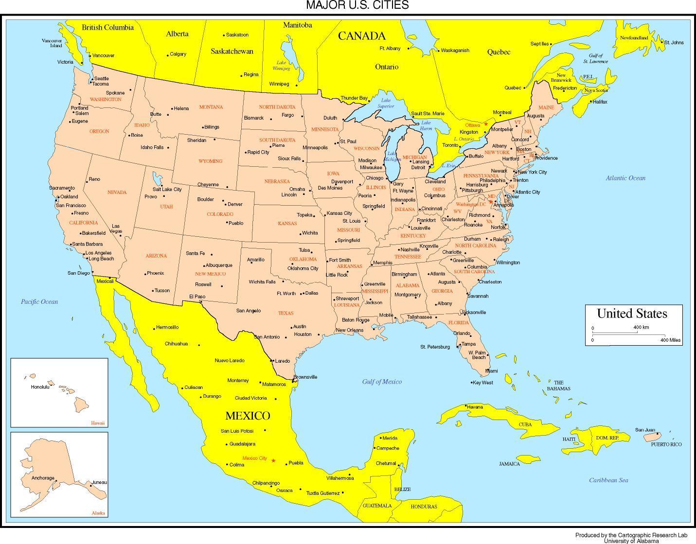 Usa Kort Med Byer Kort Amerikas Forenede Stater Med Byer Det