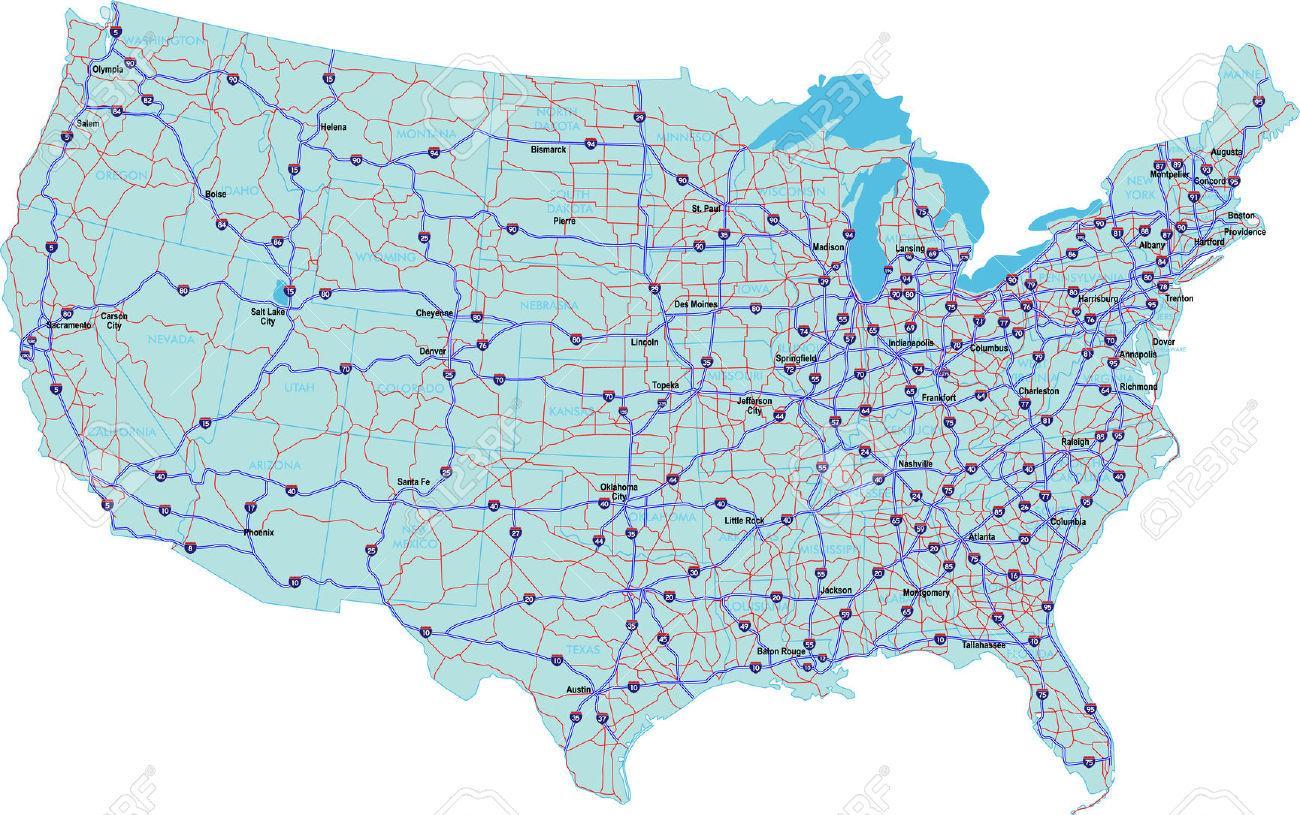 Vej Kort Over Usa Med Stater Og Byer Road Kort Over Usa Med