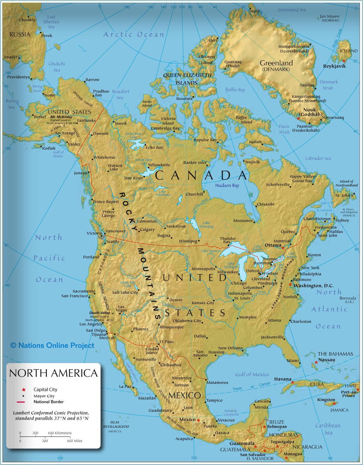 Vest Amerika Kort Kort Over Vest Amerika Nord Amerika Nord Og