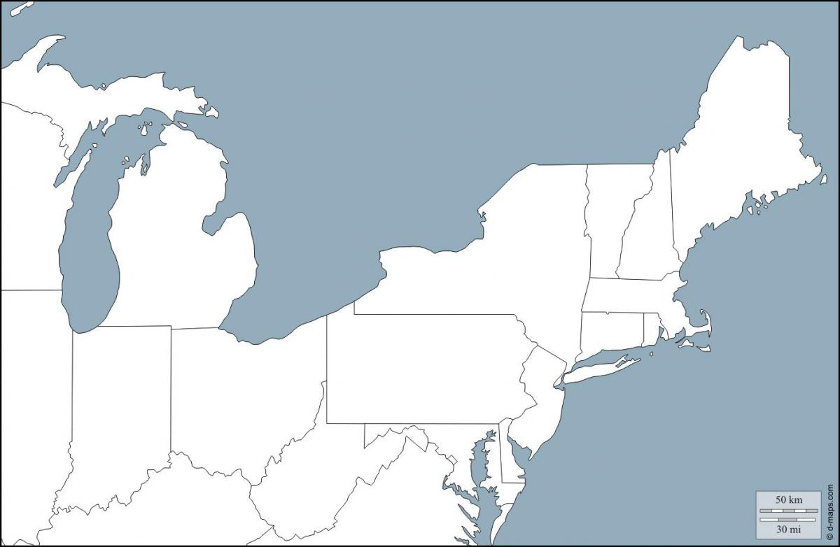 Ost Amerika Kort Kort Over Ost Amerikanske Stater Det Nordlige