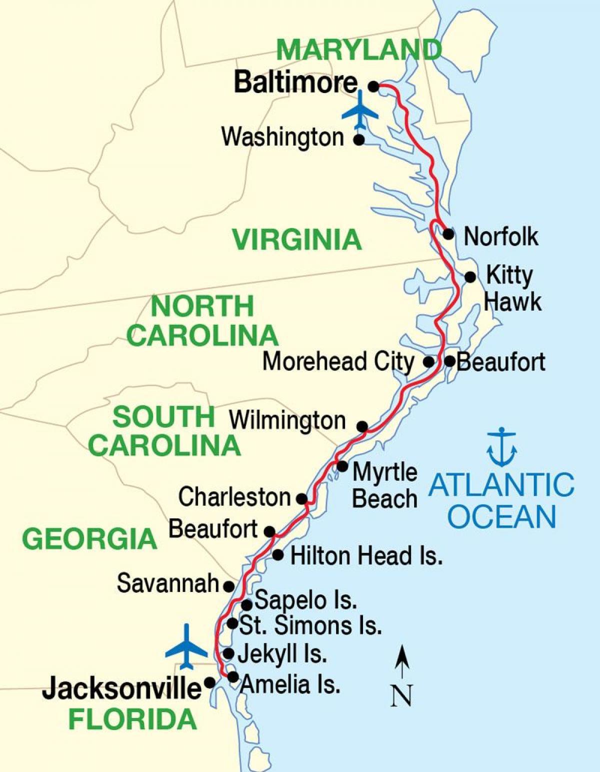 Kort Over Ost Kyst Usa Strande Kort Over Den Amerikanske Ostkyst
