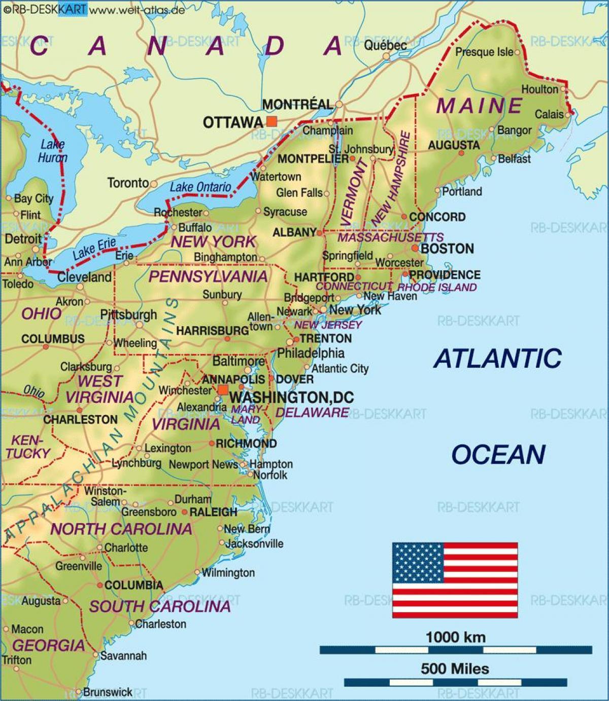 Kort Over Ost Kyst Usa Kort Af Usa East Coast Det Nordlige