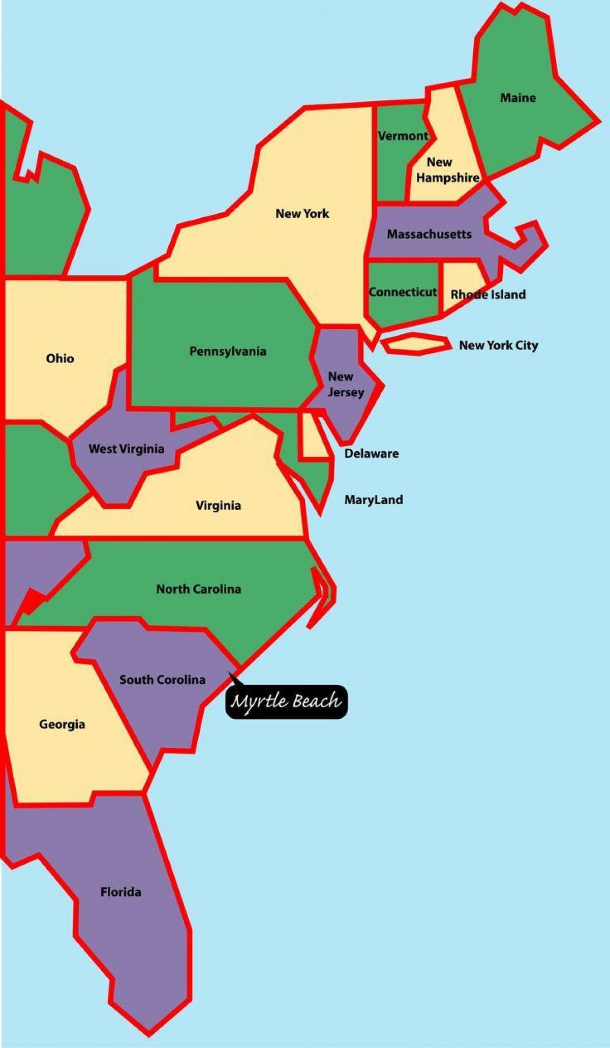 Kort Over Det Ostlige Usa S Kyst Kort Over Amerikanske Ost