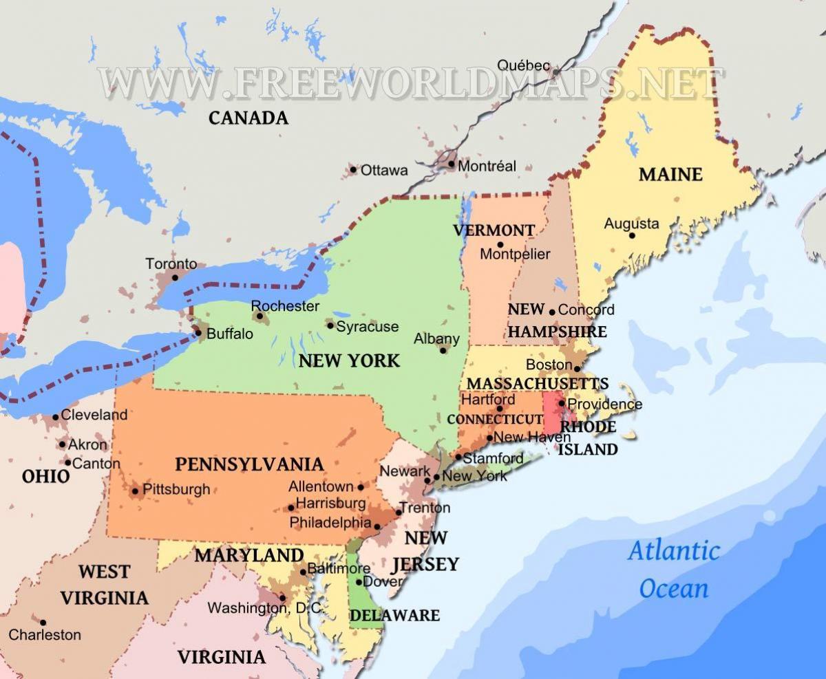 Kort Over Det Nordostlige Usa Med Stater Og Byer Kort Over Det