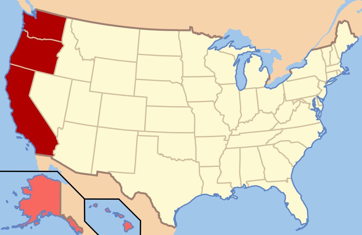 Kort Over Det Nordvestlige Usa Kort Nordvestlige Usa