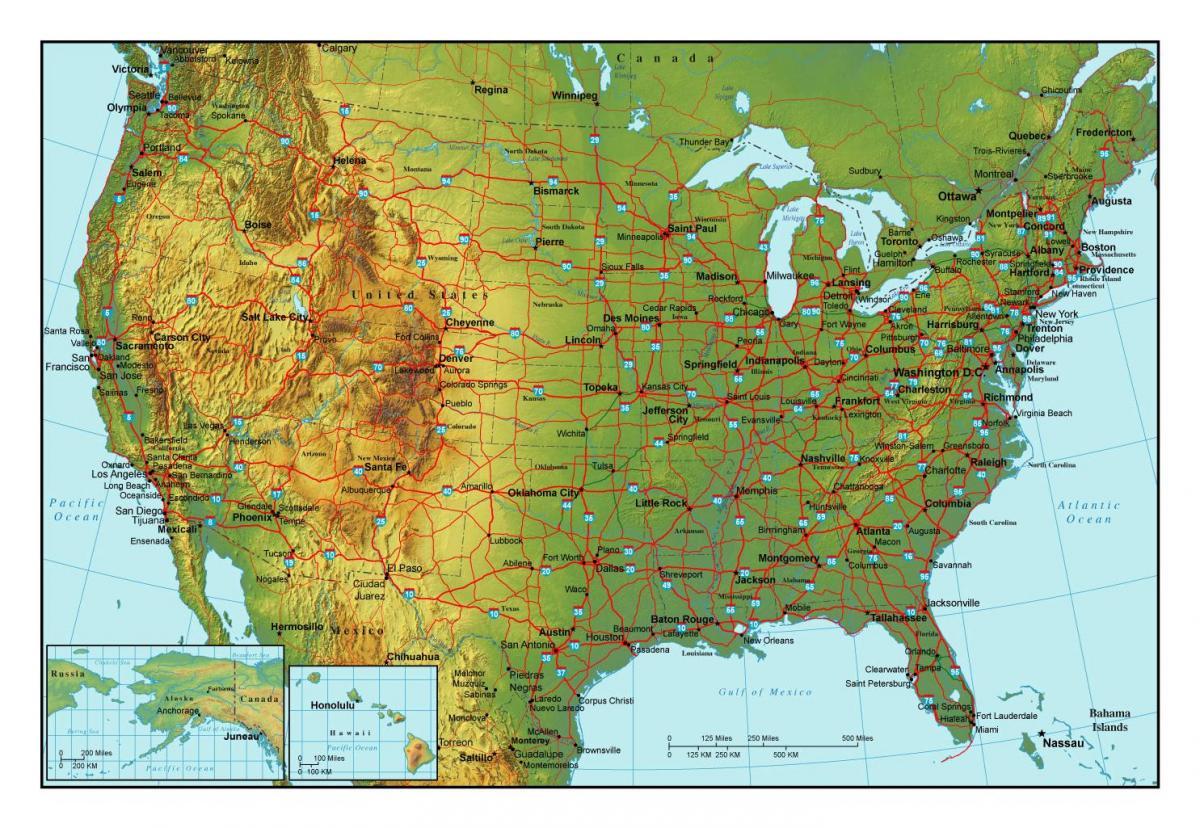Kort Over Usa Byer Byer I Usa Kort Det Nordlige Amerika Amerika
