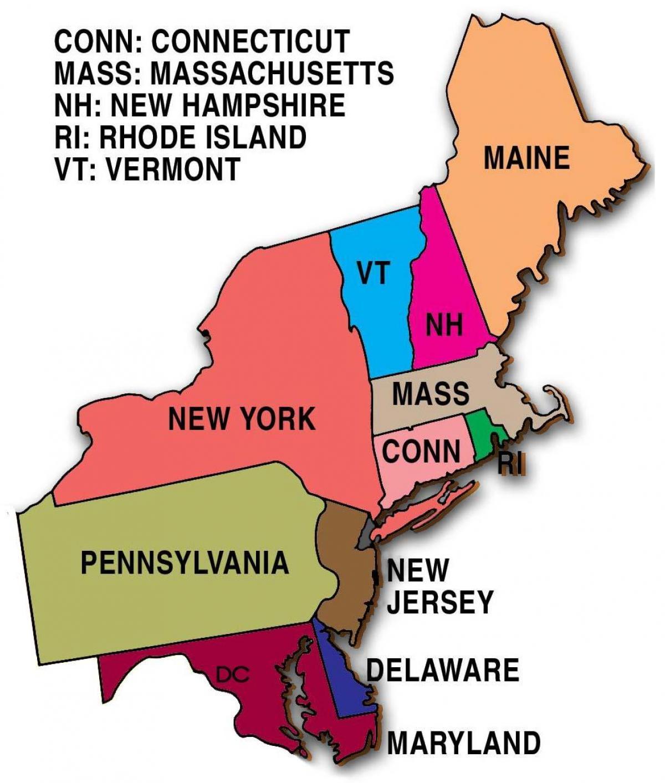 Nord Ostlige Usa Kort Kort Over Det Nordostlige Stater Det