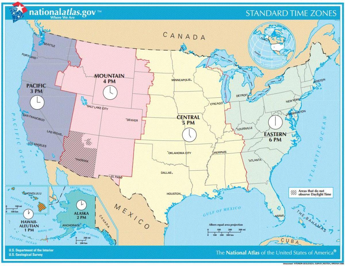 Usa Tidszone Kort Usa Zone Kort Det Nordlige Amerika Amerika