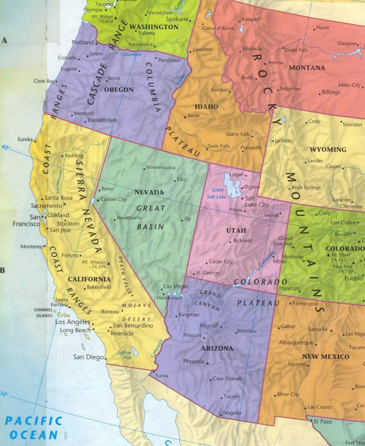 Western Os Kort Kort Over Det Vestlige Usa Nordamerika Nordamerika