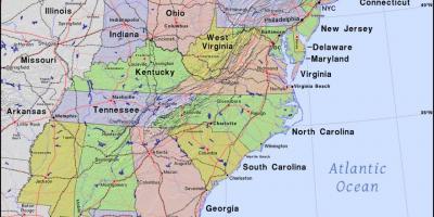 kort over øst usa